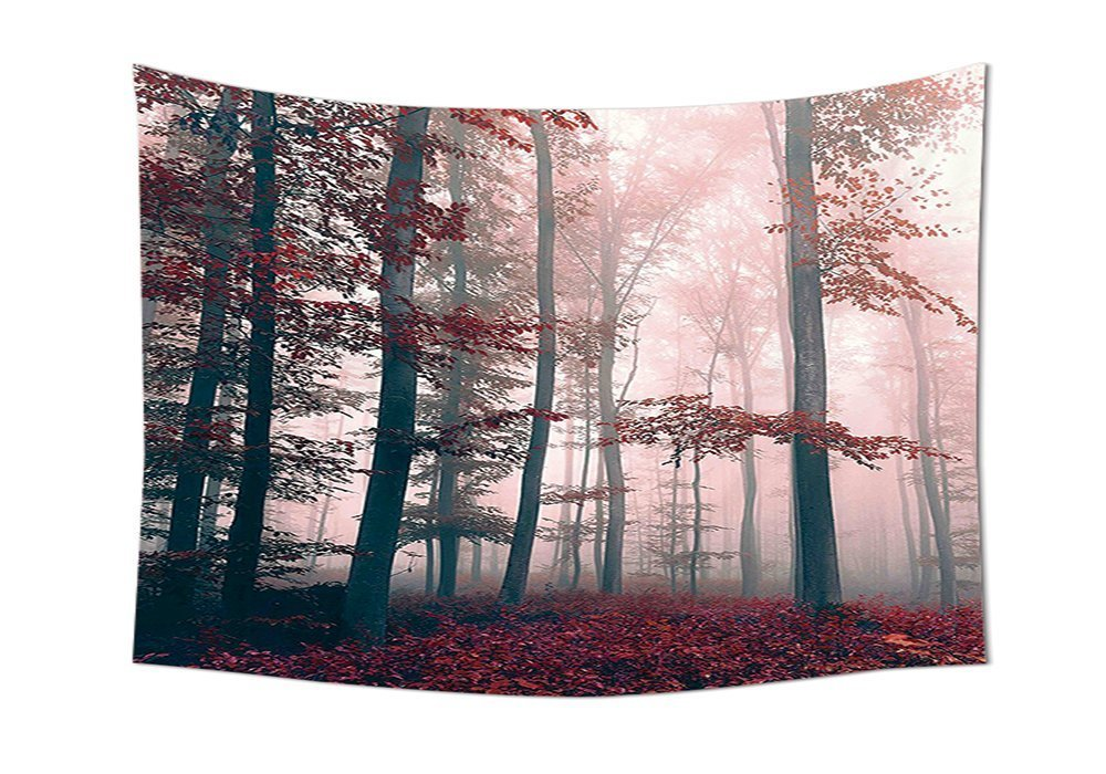 Forest Tapestry Decor Autumn Decor Mystical Foggy Fall Nature and Enchanted Woods Wild Trees Print Wall Hanging for Bedroom Living Room Dorm Red Gray and Brown