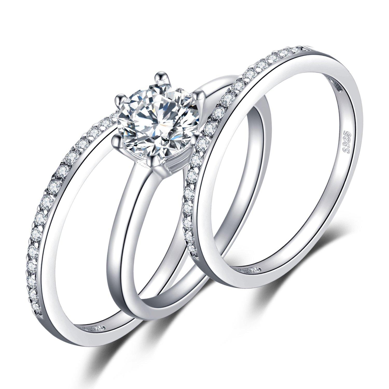 JewelryPalace 1.5ct Zircone Cubique 3 Pcs Anniversaire Mariage Band Solitaire Fiançailles Bague De mariée Ensembles en Argent 925 EU-BR370499