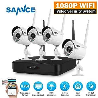 SANNCE Kit NVR 4 canales 720P video vigilancia Grabador de vídeo IR cámaras de seguridad H