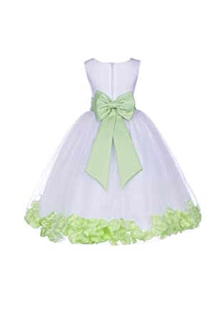 c41db9944 ekidsbridal Wedding Pageant Flower Petals Girl White Dress with Bow Tie  Sash 302a 2