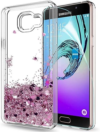 LeYi Coque Galaxy A5 2016 Etui avec Film de Protection écran, Fille Personnalisé Liquide Paillette Transparente 3D Silicone Gel TPU Antichoc Kawaii ...