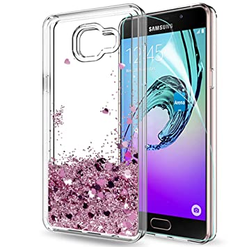 LeYi Funda Samsung Galaxy A5 2016 Silicona Purpurina Carcasa con HD Protectores de Pantalla,Transparente Cristal Bumper Telefono Gel TPU Fundas Case ...