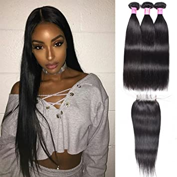 Women s Day Gifts Unprocessed Human Hair Weave Straight Natural Black Color  Three Bundles Straight Hair 18 quot e0b343e955