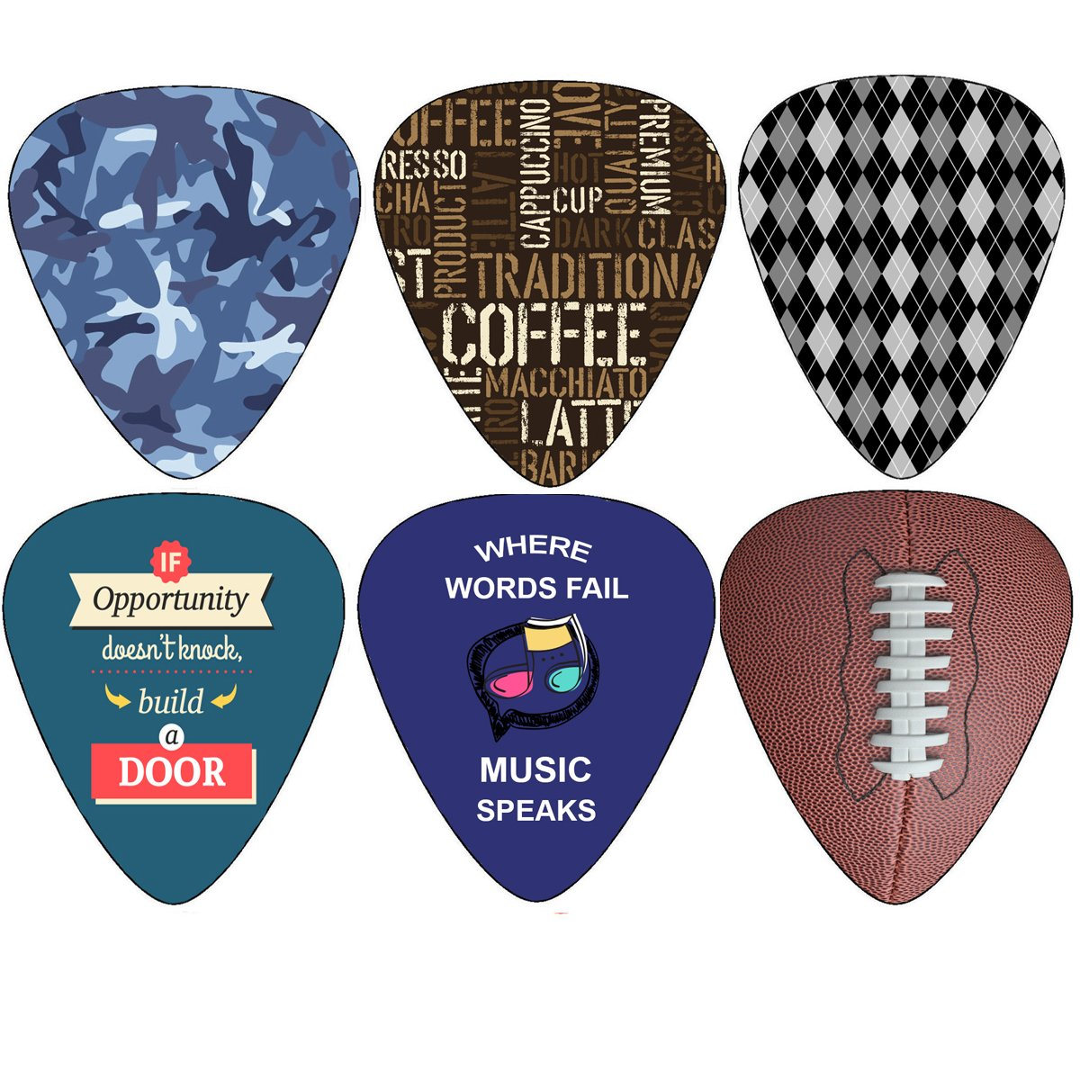 Creanoso Cool Guitar Pick (12-Pack) Medium Gauge Celluloid - Unique Music Gifts & Stocking Stuffers for Men Him Husband Dad Boyfriend Son Boys Musician Father Day Gift - Acoustic Electric Bass Guitars