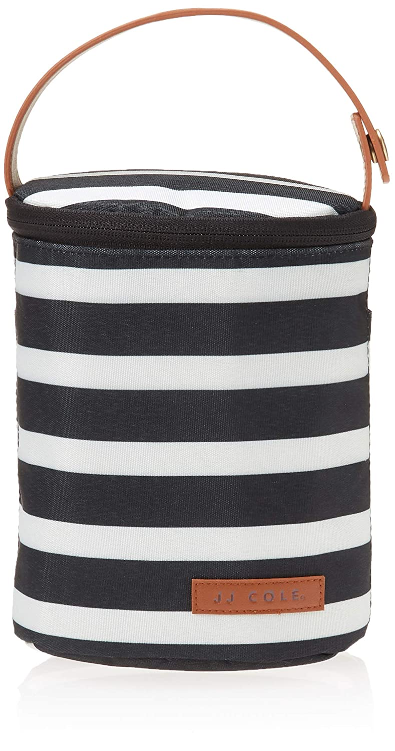 JJ Cole - Bottle Cooler, Insulated Interior for 2 Large Bottles or Sippy Cups, Included Freezer Pack, Exterior Pocket, Easy Attach Handle, Black & White Stripe
