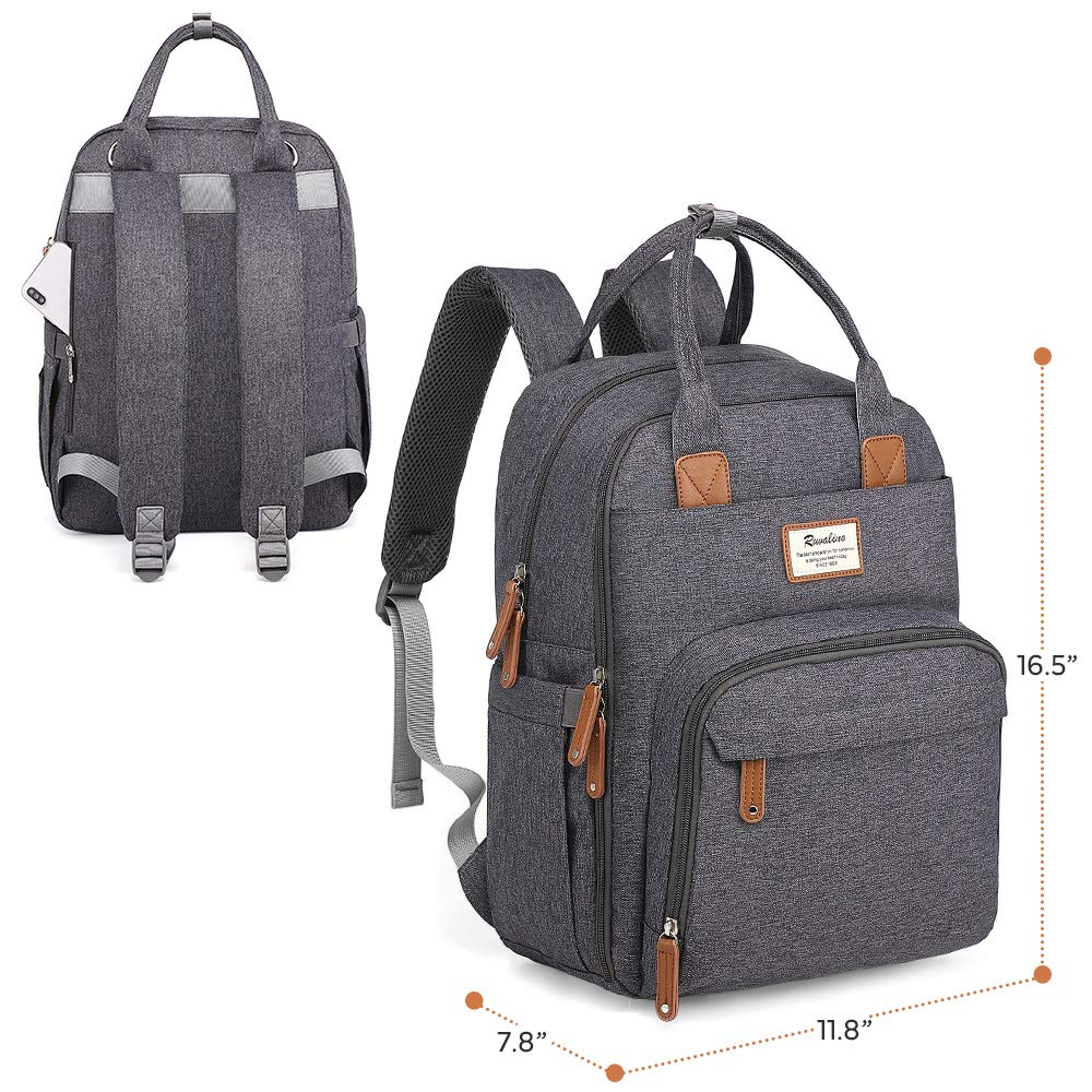 8e210cfe3 Amazon.com : Diaper Bag Backpack, RUVALINO Large Multifunction Travel Back Pack  Maternity Baby Nappy Changing Bags, Large Capacity, Waterproof and Stylish  ...