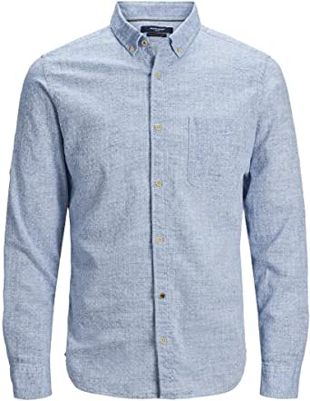 Jack & Jones Jprblusummer Dobby Shirt L/S One Pocket Camisa para Hombre
