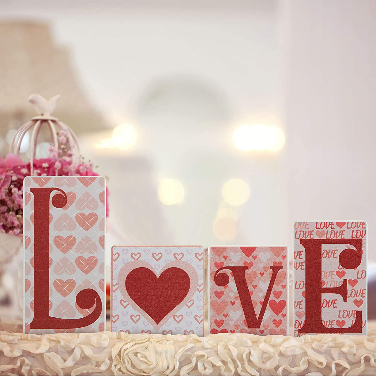 Valentine's Day Love Wooden Blocks Heart Love Wooden Signs Freestanding Love Tabletop Decorations Love Letters Table Signs for Home Party Wedding Table Decor