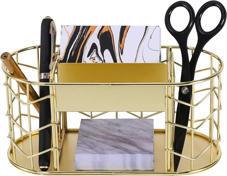 Draht-Schreibwaren-Aufbewahrungskorb f/ür B/ürobedarf und Zubeh/ör Ros/égold Briefsortierer Simmer Stone Schreibtisch-Organizer 5 F/ächer Haftnotizhalter und 1 Schublade Stifthalter