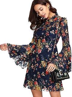 ROMWE Damen Elegant Sommerkleider mit Blumen Druck Muster A-Linie Urlaub  Party Kleider 714bedcda9