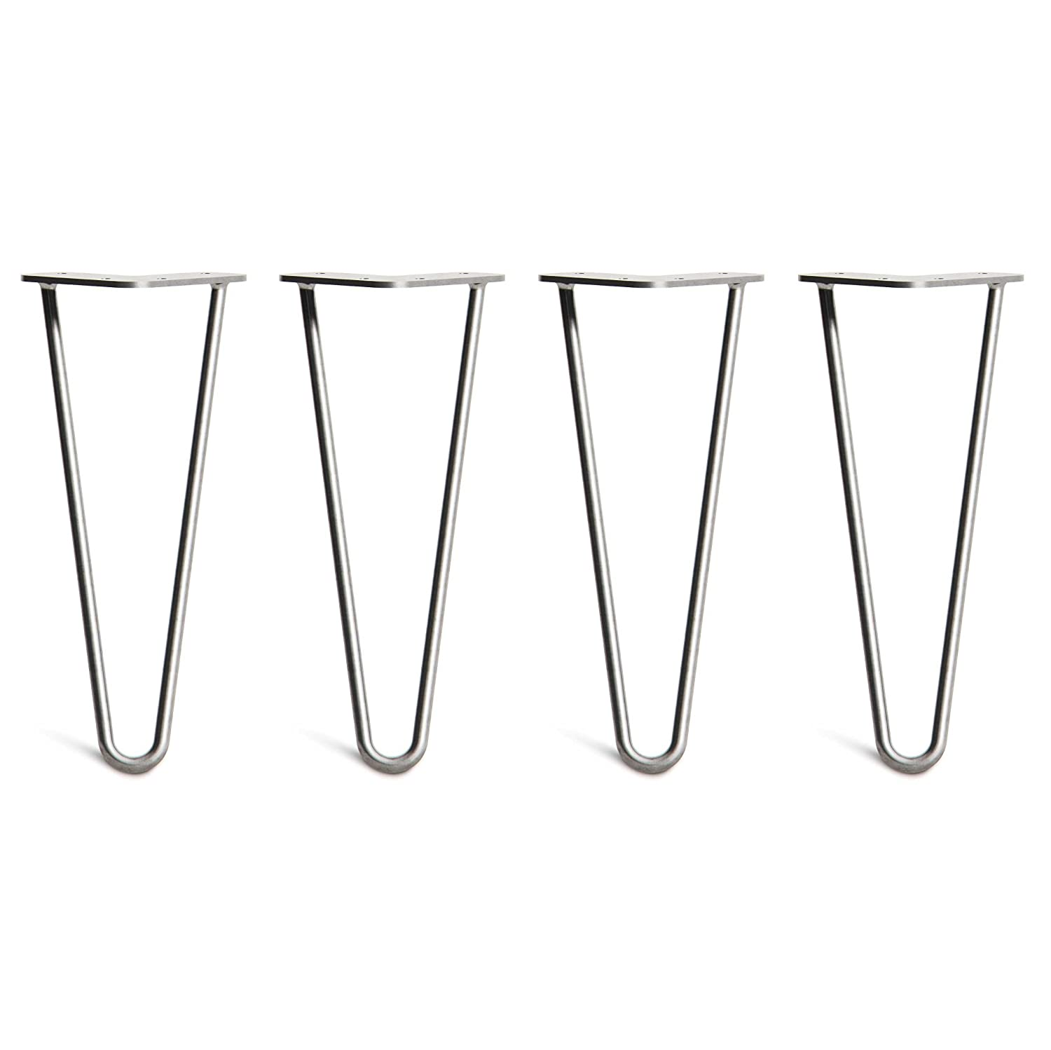 4 x Hairpin Table Legs – Superior Double Weld Steel Construction With Free Screws, Build Guide & Protector Feet, Worth £8! – Mid-Century Modern Style – 10cm To 86cm, All Finishes (10mm) The Hairpin Leg Co.