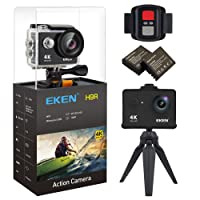 EKEN H9R Action Camera 4K Wifi Waterproof Sports Camera Full HD 4K 25fps 2.7K 30fps 1080P 60fps 720P 120fps Video Camera 12MP Photo and 170 Wide Angle Lens includes 11 Mountings Kit 2 Batteries Black