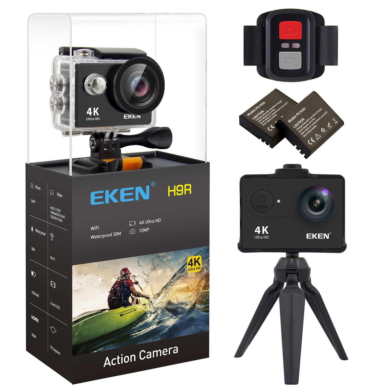 EKEN H9R Action Camera 4K Wifi Waterproof Sports Camera Full HD 4K 25fps 2.7K 30fps 1080P 60fps 720P 120fps Video Camera 12MP Photo and 170 Wide Angle Lens includes 11 Mountings Kit 2 Batteries Black by EKEN