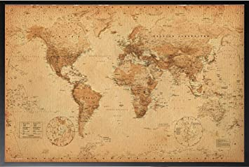 Amazon framed world map vintage 36x24 dry mounted poster wood framed world map vintage 36x24 dry mounted poster wood framed perfect for push pins or tracking gumiabroncs Image collections