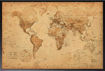 Amazon framed world map vintage 36x24 dry mounted poster wood framed world map vintage 36x24 dry mounted poster wood framed perfect for push pins or tracking gumiabroncs Gallery