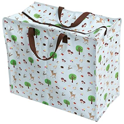 56d0cba86b0 Rex London Woodland Animals Large Blue Storage Bag with Zip - Strong ...