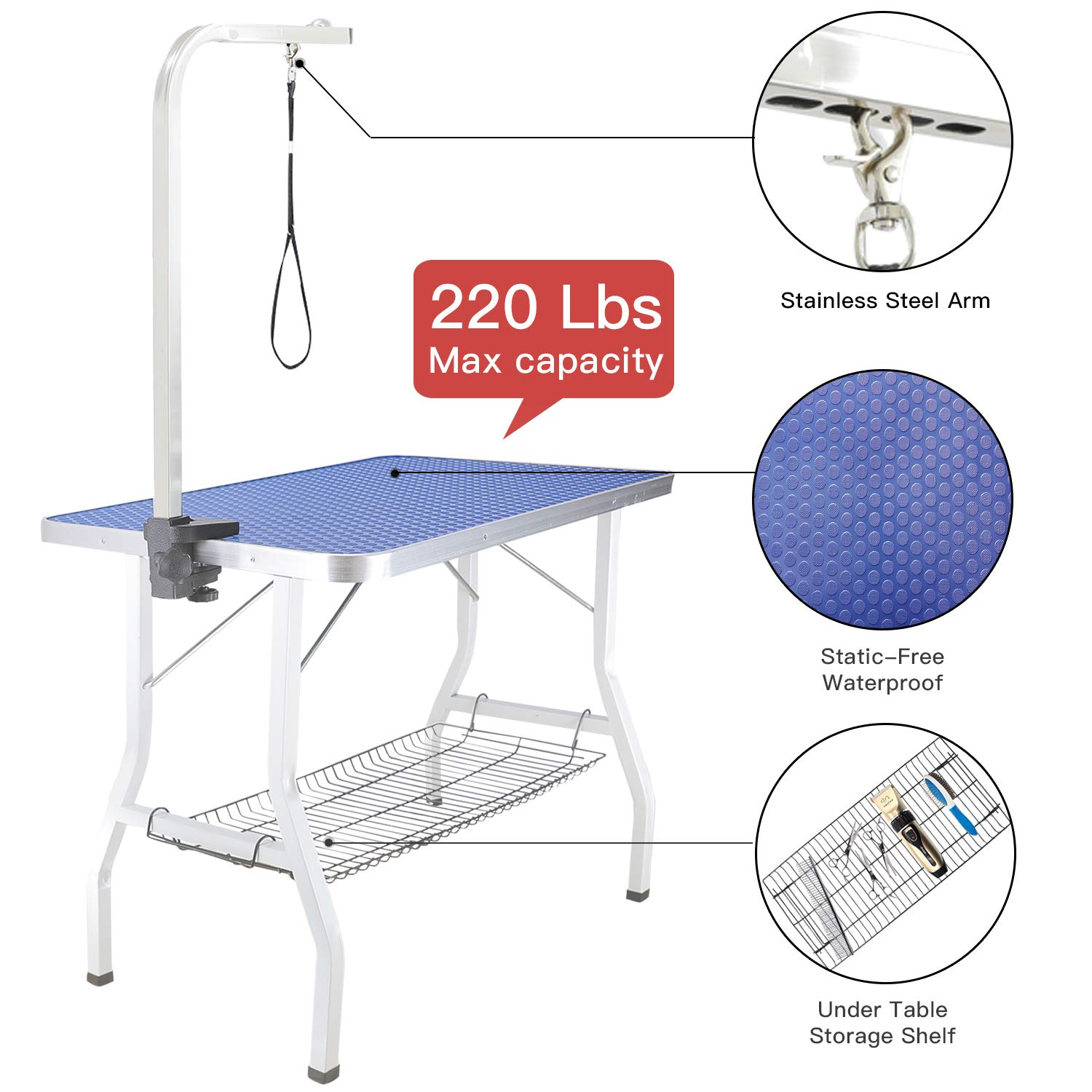ITORI Pet Dog Grooming Table for Small Dog, Professional 32 in Foldable Portable Drying Table with Adjustable Height Arm Clamp&Noose, Metal Mesh Tray, Maximum Capacity Up to 250lbs