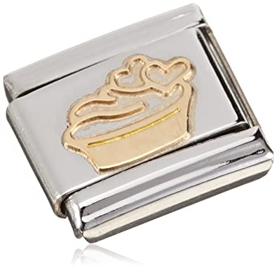Nomination Charm-Monsieur MADAME ET Muffin with Heart Design 18–Carat Gold/Stainless Steel - 030162/02 SLNSt