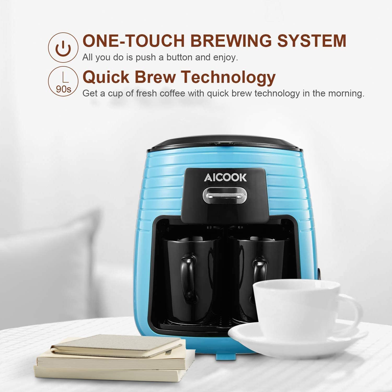Aicook - Cafetera de filtro con un solo toque con 2 tazas de ...