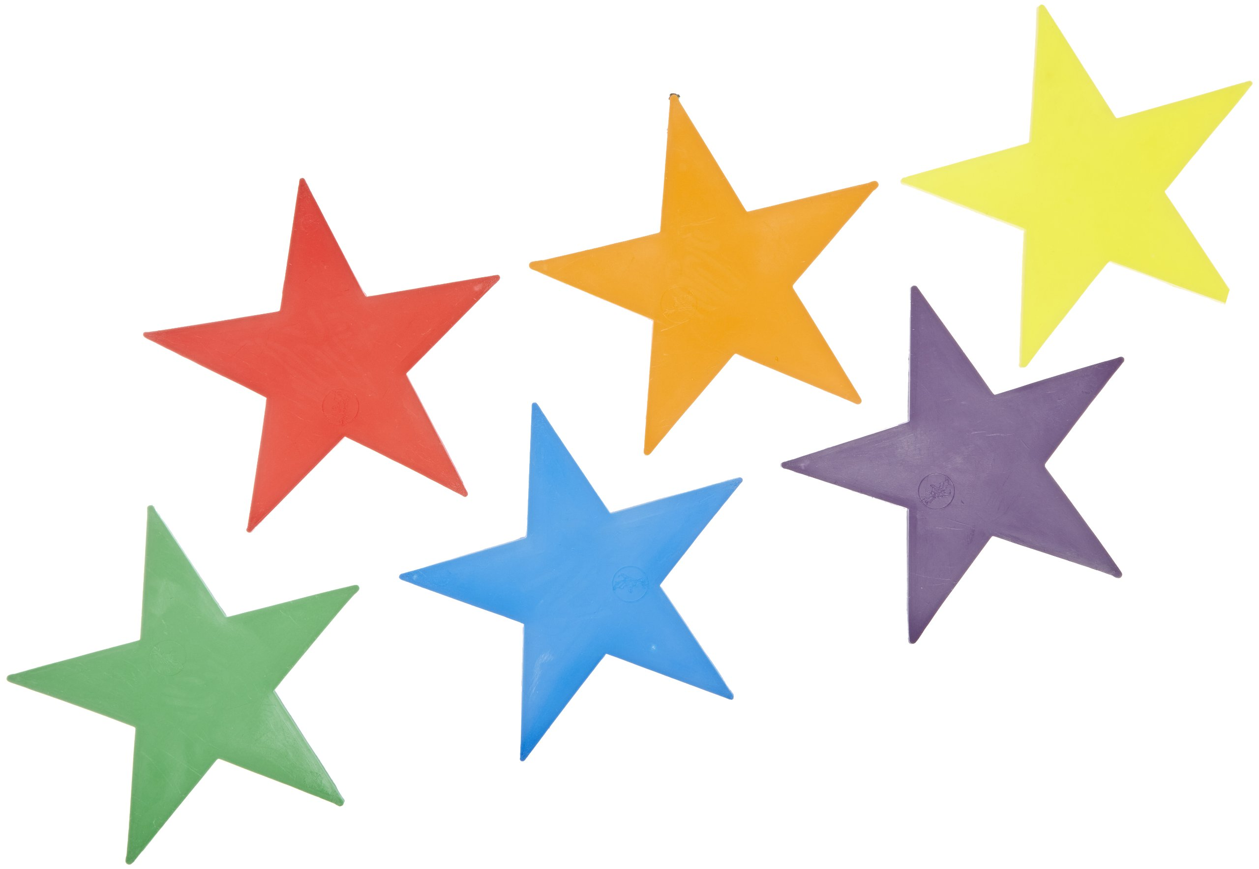 Poly Enterprises Vinyl Poly Star, Assorted Colors, 10'' x 10'' x 3/16'' Thick (Pack of 6)