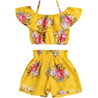 Willow Dance Toddler Kids Baby Girl Floral Halter Ruffled Tops+Shorts 2PCS Outfits Clothes Set