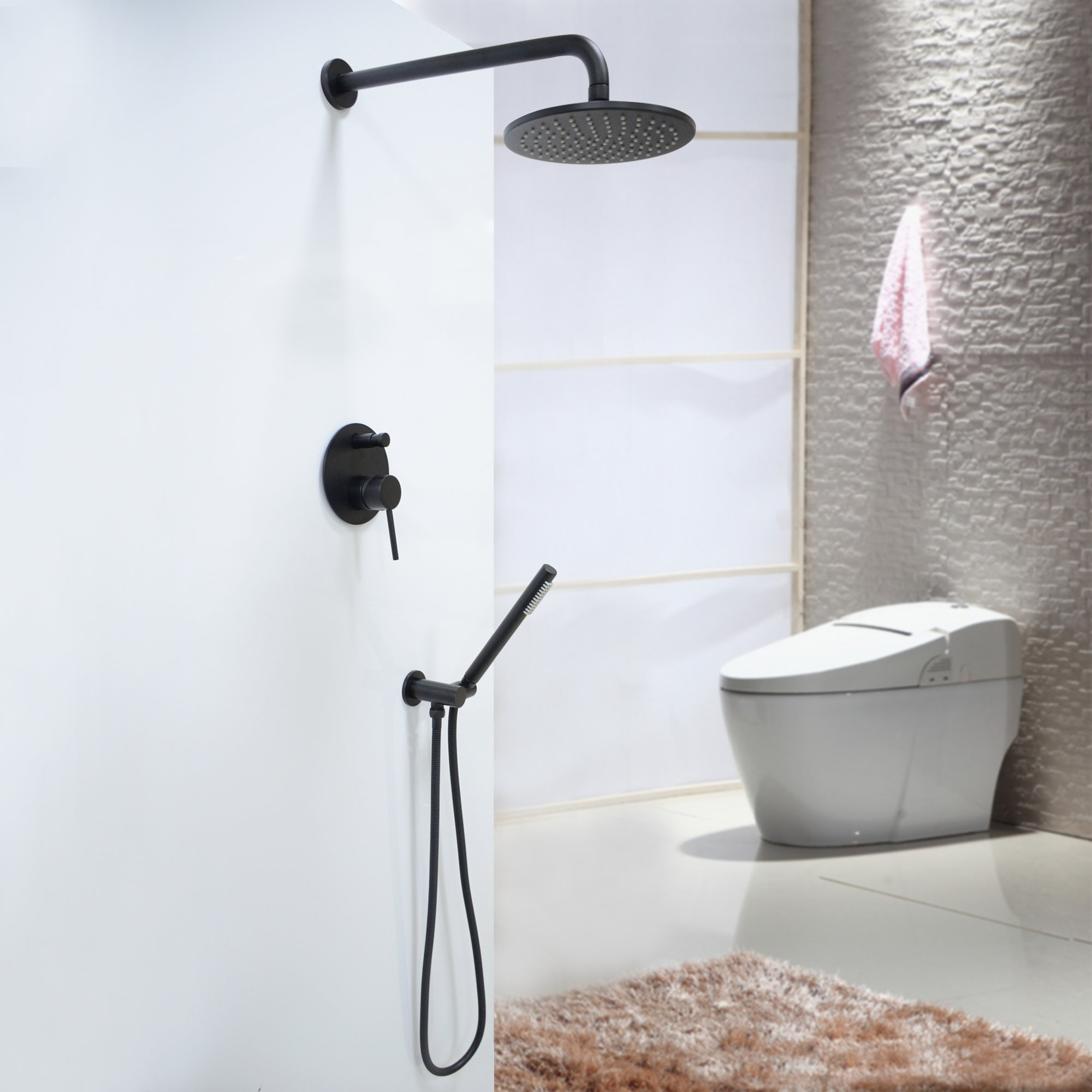 Luxury Oil Rubbed Bronze Black Bath Shower Faucet Set 8'' Rain Shower Head + Hand Shower Spray by Sprinkle (Image #2)