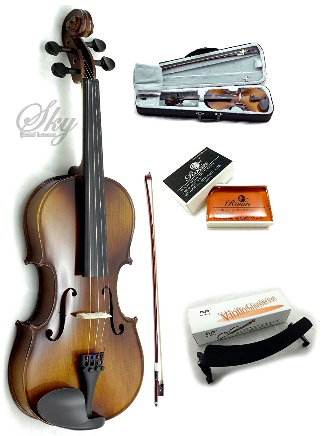 Sky Brand New Solid Wood Antique Viola Outfit with Lightweight Case, Bow and Rosin (12 Inch)