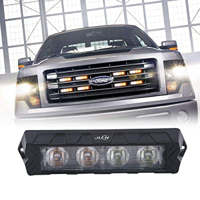 JUEN Black Aluminum Housing Surface Mount Flashing Strobe Lights for Truck Car Vehicle LED Mini Grille Light Head Emergency Beacon Hazard Warning lights (Amber/White): Automotive [5Bkhe0100776]