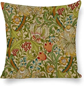 Yilooom Throw Pillow Covers,William Morris Golden Lily Vintage Pre_Raphaelite Mouse PadThrow Pillow Cases Cotton Linen Pillowcase Cushion Cover Home Office Car Decor Square 26x26 Inch