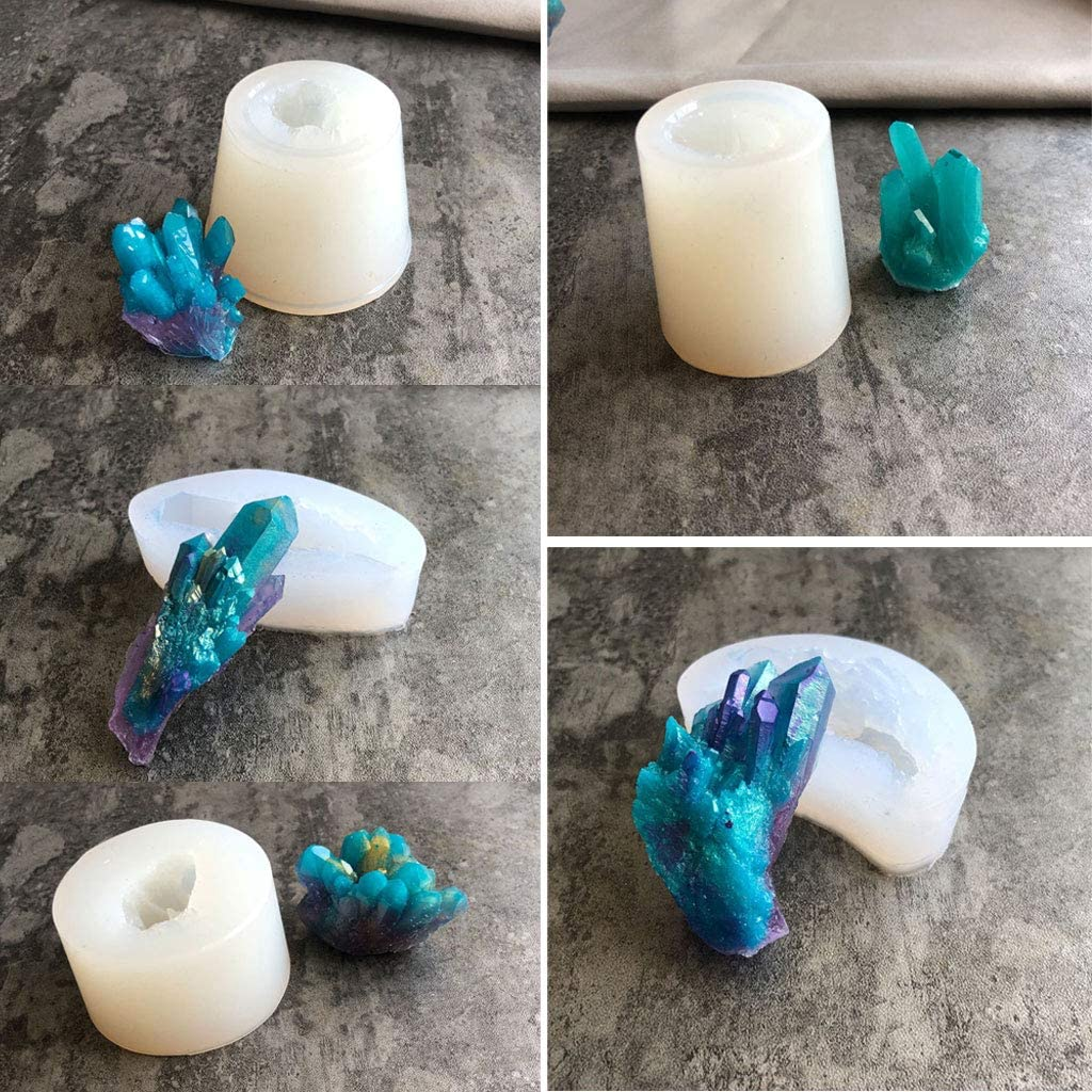 5 formas piedra druzy natural para herramientas de fabricaci/ón de joyas Molde de silicona RT-Color racimo de roca de cuarzo molde de resina epoxi