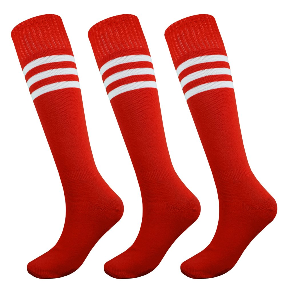 Fitliva Tube Dress Teen Adolescence Athlete Long Dress Cheerleader Football Team Socks with White Stripe (3pairs-Red) by Fitliva