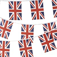 Proud to be British, 100% Fabric Union Jack Bunting Flag 10metres/33ft Long with 30 Flags