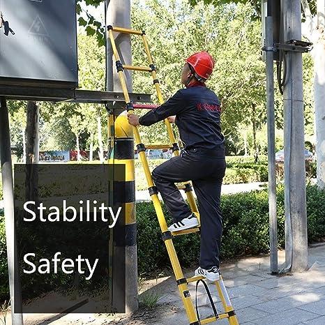 ZAQI Escalera Extensible Escalera telescópica Escalera de Fibra de Vidrio no conductiva - Escalera telescópica portátil Alta con protección for los Dedos, Carga 330 lbs (Size : 2 m/6.6 ft): Amazon.es: Hogar