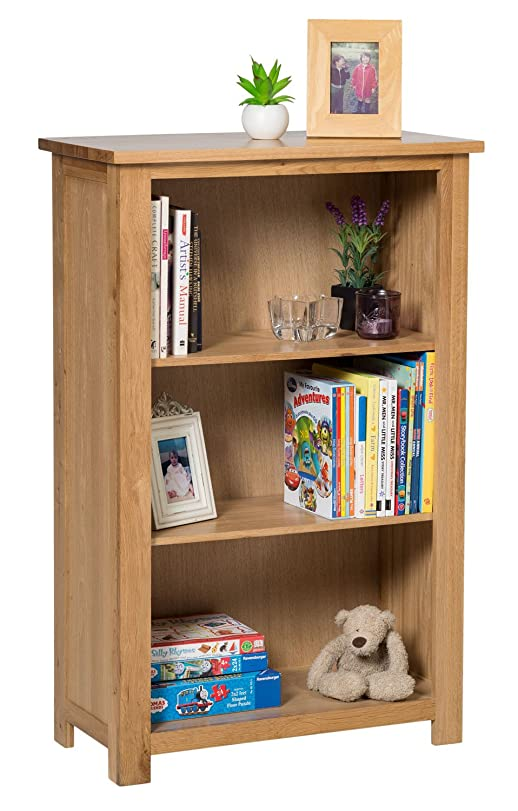 Waverly Oak Small Bookcase With Adjustable Shelves In Light Oak Finish U0026  Ample Storage Space 116cm