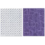 Sizzix Texture Fades Embossing Folders 2/PK - Diamond Plate & Riveted Metal Set by Tim Holtz