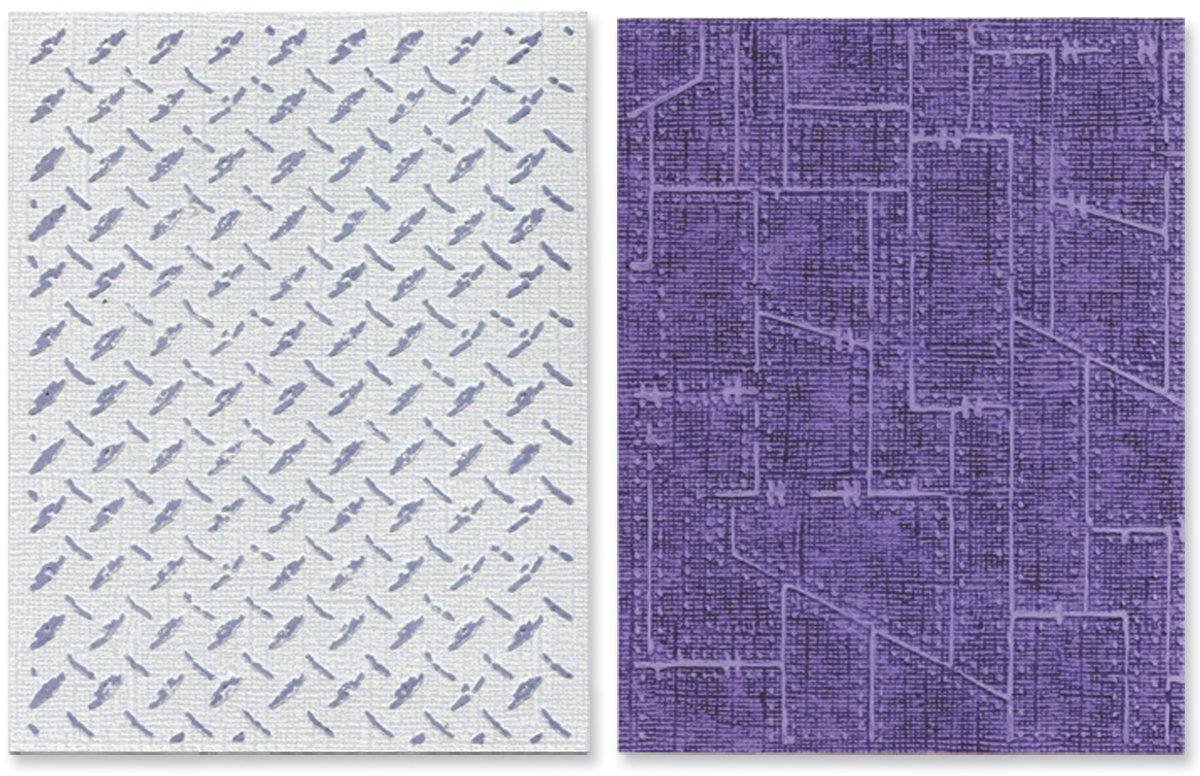 Sizzix Texture Fades Embossing Folders 2/PK - Diamond Plate & Riveted Metal Set by Tim Holtz by Sizzix
