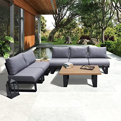 ART TO REAL Outdoor Patio Furniture Conversation Set with Coffee Table,  Aluminum Sectional Sofa Set - Amazon.com : ART TO REAL Outdoor Patio Furniture Conversation Set