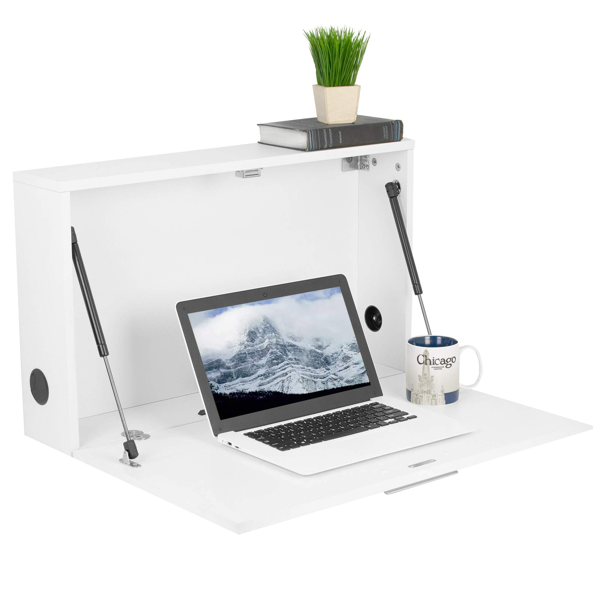 VIVO White Wall Mounted 28 inch Drop Down Laptop Desk Workstation and Storage Cabinet | Pneumatic Spring Wall Organizer, Pull Down Desk Drawer (DESK-SF02W) by VIVO