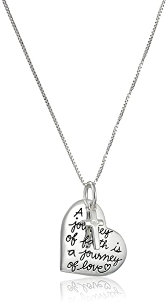 Amazon sterling silver faith heart and cross charm pendant sterling silver faith heart and cross charm pendant necklace 18quot aloadofball Image collections