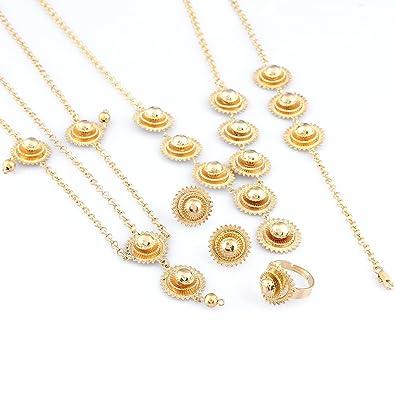 Amazoncom Women Ethiopian Jewelry Set 24k Gold Plated Girl Eritrea