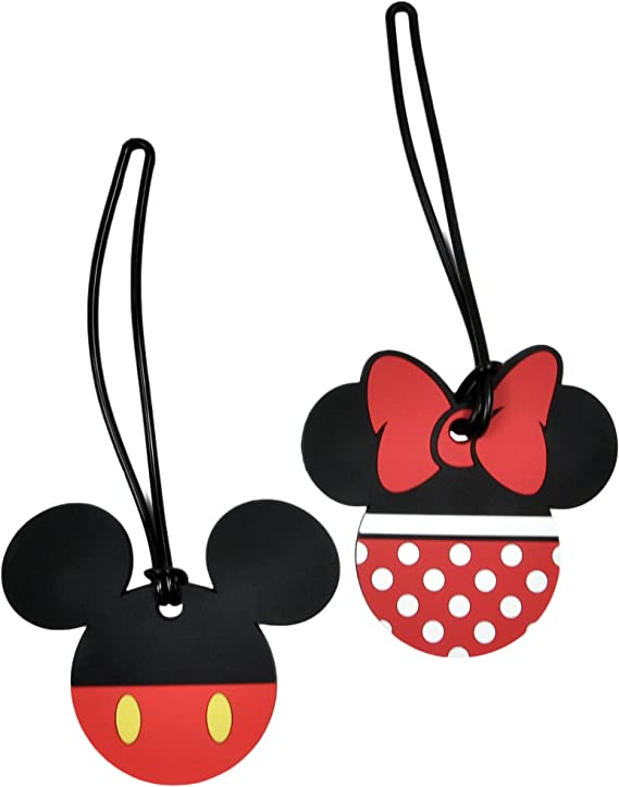 Minnie Mouse Silicone PVC Cartoon Travel Luggage Tag School 3 x Mickey Mouse