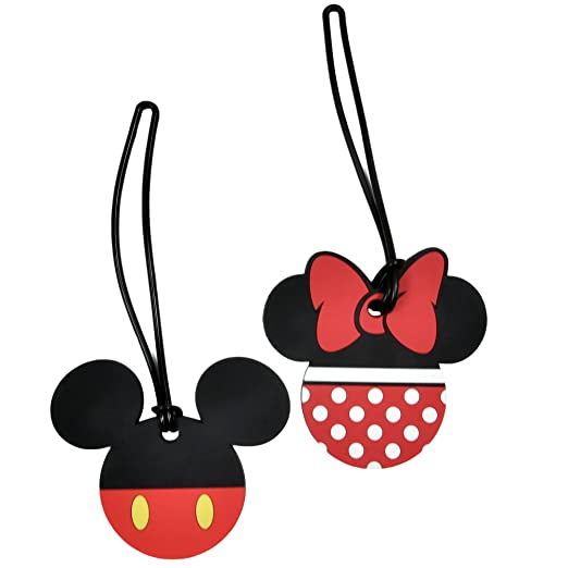 b41697990b26 2 Pack Disney Luggage Suitcase Tags Mickey & Minnie Mouse Body/Pants PVC