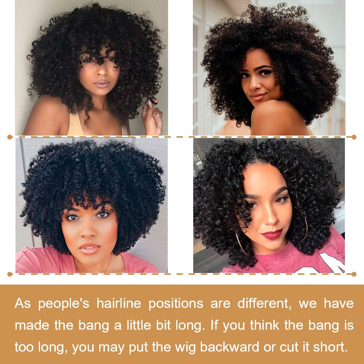 Short Black Kinky Curly Wig, Fluffy Wavy Synthetic Curly Hair Wigs