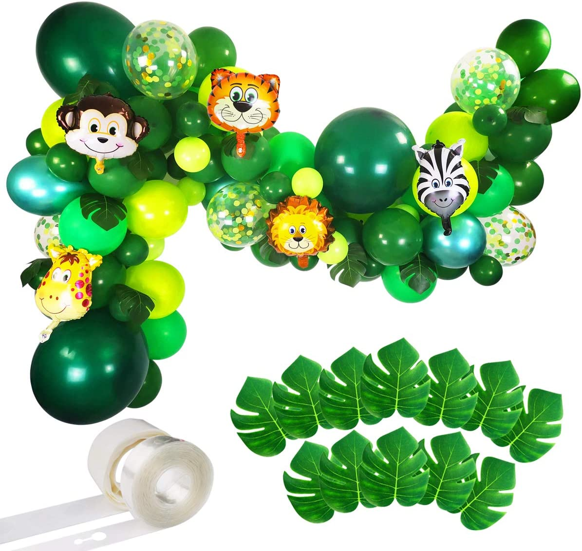 Amazon Com Jungle Party Balloons Garland Kit 110pcs Latex Balloons Animal Foil Confetti Balloon Arch Palm Leaves Set For Jungle Theme Baby Shower Party Decorations Safari Woodland Birthday Party Supplies Toys