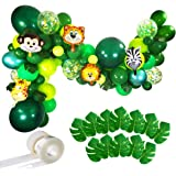 Jungle Party Balloons Garland Kit - 110pcs Latex Balloons Animal Foil Confetti Balloon Arch Palm Leaves Set for Jungle…