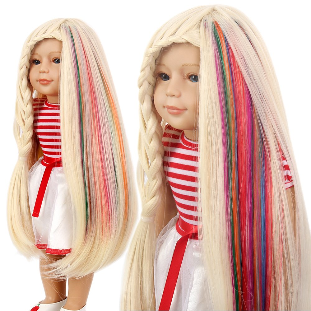 New 2 Pcs Clip Hair Extensions For Barbie Baby Doll American Girl