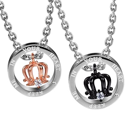 561a313a9f Amazon.com : JewelBeauty Stainless Steel Pendant Necklace Matching Rings  Engraved