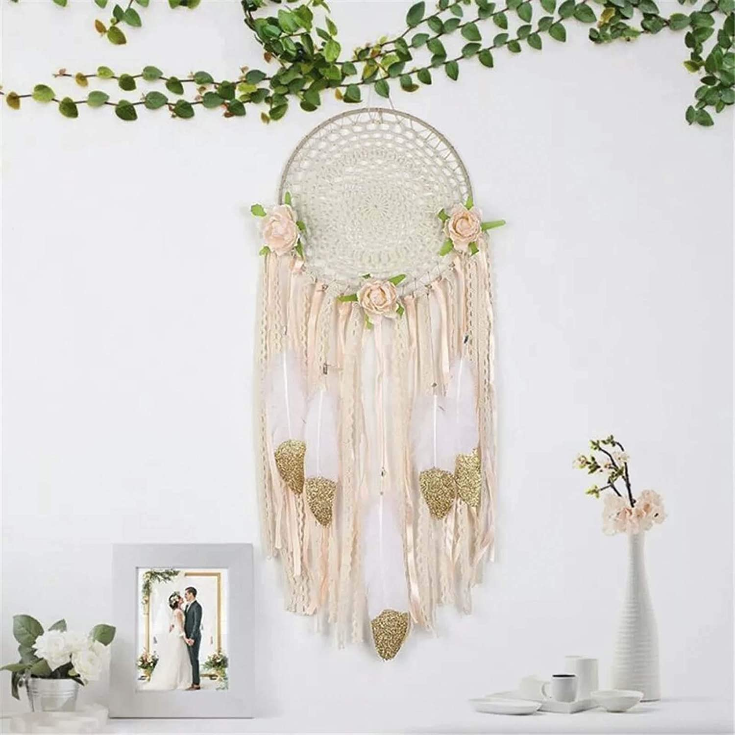 Vlovelife Boho Dream Catcher Handmade Feathers Dreamcaters with Tassels & Flowers for Wall Hanging Decor Ornament Wedding Baby Shower Birthday Party Decorations