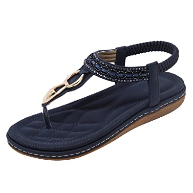 Belloo Damen Sommer Flach Sandalen PU Leder Zehentrenner,Blau,38