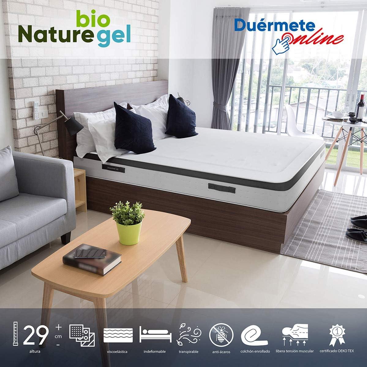 Duérmete Online - Colchón Viscoelástico Nature Biogel | Altura 29cm | Confort Máximo | Tejido Termorregulador, 160x200